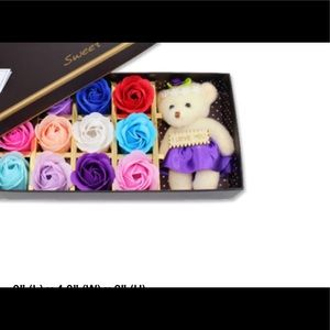 Other - Rose Soap Set w/Teddy Bear-new